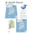 South Korea maps with markers vector image