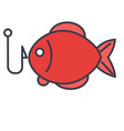 fishing fish flat line concep vector image