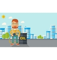 Businessman with oil can and pump vector image