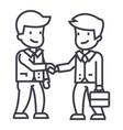 businessmen handshaking line icon sign vector image
