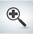 an isolated magnifier icon with a pharmacy sign vector image vector image