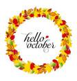 autumn design wreath colorful leaves vector image