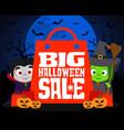 big halloween sale design background vector image