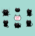 black fat cat set cute cartoon screaming funny vector image vector image