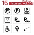 black parking icons set vector image vector image