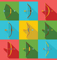 bow arrow weapon icons set flat style vector image