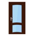 brown door wooden interior design with glass vector image