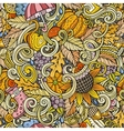 Cartoon cute doodles autumn seamless pattern vector image