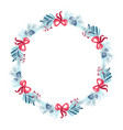 christmas wreath with bouquet flower vector image vector image