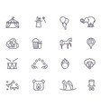circus icons set in linear style vector image