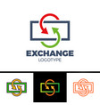currency exchange line icon filled outline sign vector image