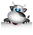 Cute cow cartoon with blank sign vector image vector image