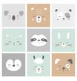 cute simple animal faces portraits - hare bear vector image