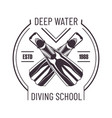 deep water diving school isolated monochrome promo vector image vector image