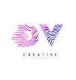 dv d v zebra lines letter logo design with vector image