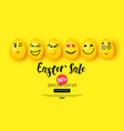 easter sale background with cartoon smiling eggs vector image