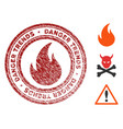 fire danger trends stamp with dirty effect vector image