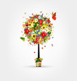 Four seasons concept Art tree in pot for your vector image vector image