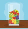 fresh juice fruits in glass kawaii characters vector image