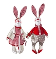 Girl and boy bunny doll in vintage style vector image vector image