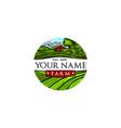 green farm vintage round shape logo in vector image vector image