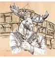 Gunman Elk - An hand drawn Line art vector image vector image