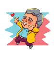 Happy Old Man Two Hands Pointing for Love vector image vector image