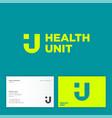 health unit logo h and u monogram illusion vector image
