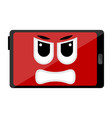 isolated angry tablet emote vector image vector image