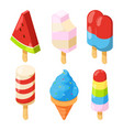 isometric icecream pictures vector image vector image