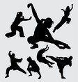 kungfu martial art silhouette vector image vector image