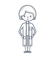line woman doctor with medical uniform vector image