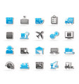 logistics delivery transportation and cargo icon vector image