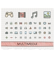 Media hand drawing line icons doodle vector image