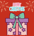 merry christmas celebration wrapped gift box with vector image vector image