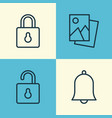 network icons set collection of unlock bell vector image vector image