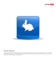 rabbit icon - 3d blue button vector image vector image