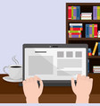 reading with laptop design vector image vector image