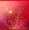 red background with gold glitter and star shaped vector image vector image