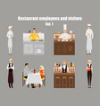 restaurant workers cartoon characters people work vector image vector image