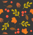 seamless pattern acorn maple and wild berries vector image