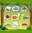 set insect sticker template vector image vector image