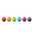 set of color christmas ball on white background vector image vector image