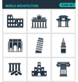 Set of modern icons World architecture vector image