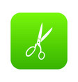 sewing scissors icon digital green vector image