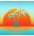 silhouette palm tree against rising sun vector image