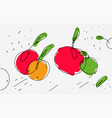 sketch of apples in eclectic style light vector image