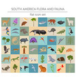 south america flora and fauna flat elements vector image vector image
