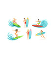 surfing people collection male and female surfers vector image vector image