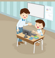 teacher teaching computer to student boy vector image vector image